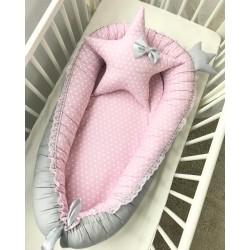 Babynest roz cu buline albe