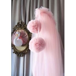 Baldachin din tulle roz pal